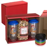 Custom Avalon Clear Tumbler Set w/ Caramel Popcorn & Hot Chocolate In A Spoon