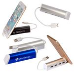 Custom Aluminum 4 Port USB Hub w/Phone Stand