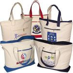 Custom Zippered Cotton Boat Tote Bag