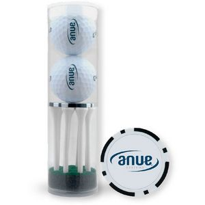 2-Ball & 8-Tee Tube W/ Poker Chip Ball Marker