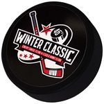 Custom Official Black Rubber Hockey Puck w/Full Color Decal
