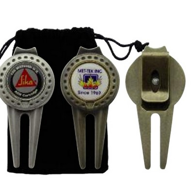 Magnetic Ball Marker/ Divot Tool with Clip