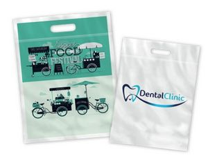 Small Full Color Die Cut Handle Plastic Bags - 1 Side Printed
