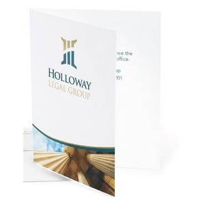 Full Color 5½ Baronial White Gloss or Uncoated Fold Over Announcements (1 Sided)