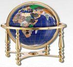 Custom Compass Jewel Desk Globe w/ Brass Plated Stand