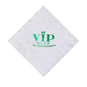 Foil Stamped White 1-Ply Beverage Napkin, Linen Embossing