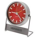 Custom Metal Quartz Analog Desktop Alarm Clock w/ Metal Stand