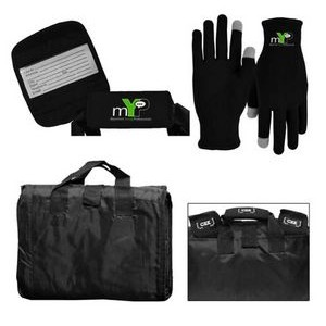 Picnic Blanket, Luggage Grip and Performance Runners Text Gloves Combo