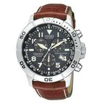 Custom Citizen Men's Eco-Drive Stainless Steel Chronograph Leather Strap Watch from Pedre