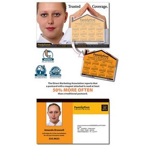 14 Pt. Magna-Peel™ Laminated Postcard w/House Shape Magnet