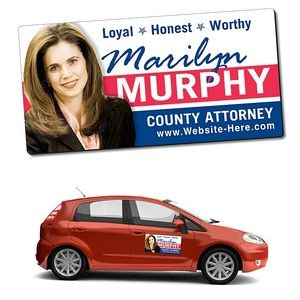 "Political Magnetic Car Sign w/ Round Corners (24""x12"")"