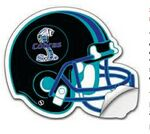 Custom Football Helmet Shape UV Coated White Vinyl Sticker (10.125