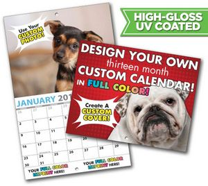 Large Custom Photo 13 Month High Gloss UV Coated Appointment Wall Calendar