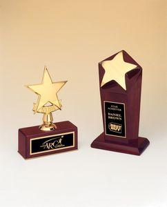 Polished Metal Goldtone Star on Rosewood Base (5x7 1/2)