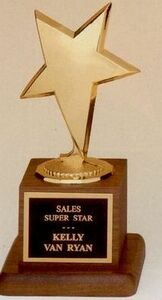 Modern Star Metal Casting Award on Walnut Finished Base (3 1/2x6 3/4)