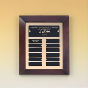 "Perpetual Plaque w/ 12 Individual Black Brass Name Plates (12""x15"")"