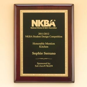 Rosewood Piano Finish Plaque with Gold Florentine Border