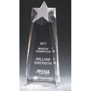 Star Trophy Carved From A Block Of Crystal Award