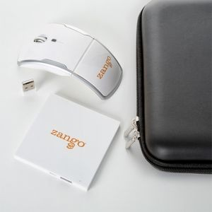 Power Bank & Foldable Wireless Mouse Tech Gift Set Packaged in a Zipper Pouch