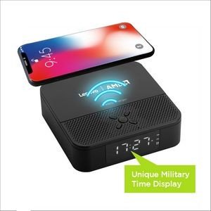 3-In-1 Wireless Charger And Bluetooth Speaker With Dual Alarm Clock