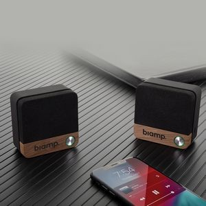 Pair of Wood Accented Bluetooth Speaker Set