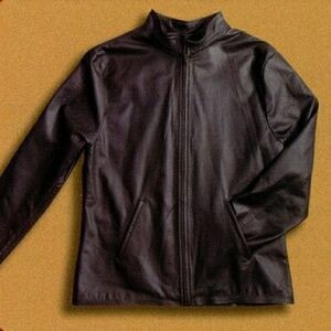 Tyca's Embossed Leather Jacket with Mandarin Collar