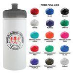 Custom Sports Bottle - 16 Oz Sports White Plastic Water Bottle With your Choice of Lid Color