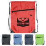 Custom Drawstring Backpack - Drawstring Sports Bag with Front Zipper