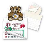 Custom Teddy Bear Shape Calendar Pad Sticker W/ Tear Away Calendar
