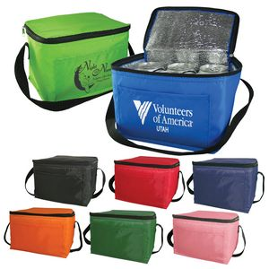 6 Pack Cooler Bag - Polyester Insulated Lunch Bag with Handle & Pocket