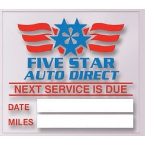 "V-T™ Service Reminder Sticker - Static Cling (2""x2 1/4"")"