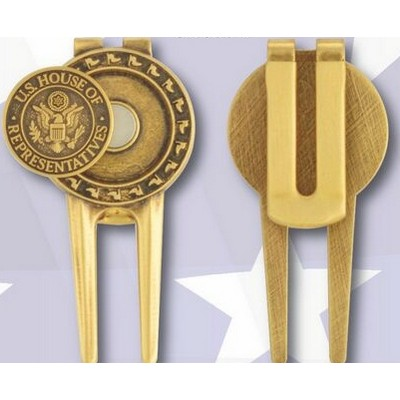 Solid Brass Divot Tool w/ Spring Money Clip Back and Die struck Ball Marker