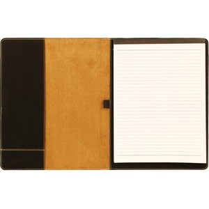 "7 x 9"" Black/Gold Leatherette Mini Portfolio with Notepad"