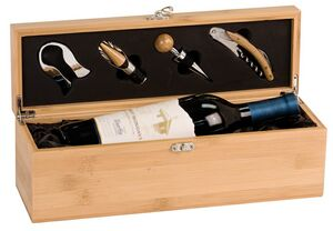 Bamboo Wine Box & Tool Gift Set