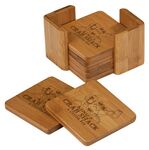 Custom Bamboo 6 Coaster Set w/Holder