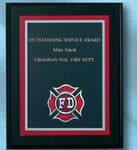 Custom Fire Department Fire Specialty Award on Black Plaque