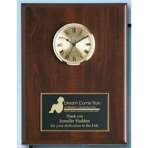 "Cherry Solid Wood Plaque w/ Clock (9""x12"")"