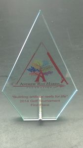 Arrowhead Glass Award w/Post Stand
