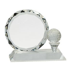 "5 1/4"" Round Facet Crystal with Golf Ball on Clear Pedestal Base Round Facet Crystal with Golf Ball"