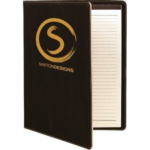 "9.5 x 12"" Black/Gold Leatherette Portfolio with Notepad"