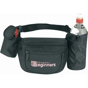Black Fanny Pack w/Bottle Holder & Cellular Phone Pouch