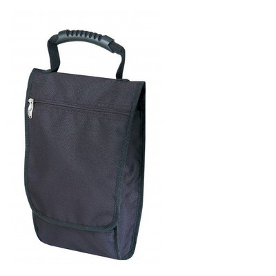 "Black Ripstop Shoe Bag w/ Flap & Grip Handle (10""x13""x2"")"