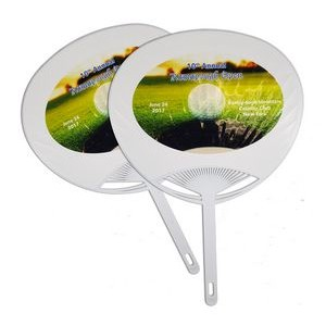 "Quick-Ship ""Moon"" Plastic Hand Fan w/Full Color Label"