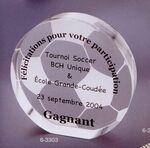 Custom Acrylic Soccer Ball Embedment Award w/ Cut Bottom