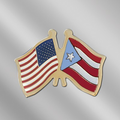 USA / Sudan Cross Flags Stock Patriotic Pin