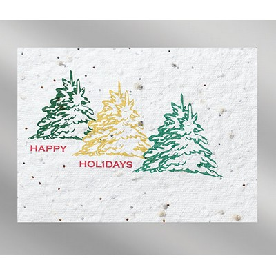 Bells Floral Seed Paper Holiday Card without inside message