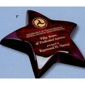 "Piano Finish Rosewood Star Paperweight Award (5 1/2"")"