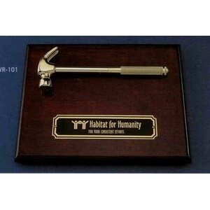 "Piano Wood Plaque w/8"" Gold Plated Hammer"