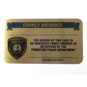 "3.5"" x 2"" Solid Brass Business/Membership card w/ an epoxy screen printed imprint. Made in the USA."