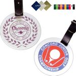 Custom Gold/ Silver or Color Coated Round Aluminum Bag Tag - Screen Printed (2 3/4